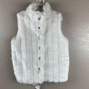 Gymboree White Faux Fur Vest Rhinestone Buttons
